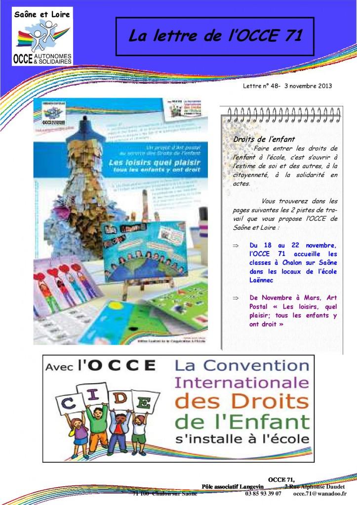 Lettre N°48 - 3 Novembre 2013 - Droits de l'enfant - 1