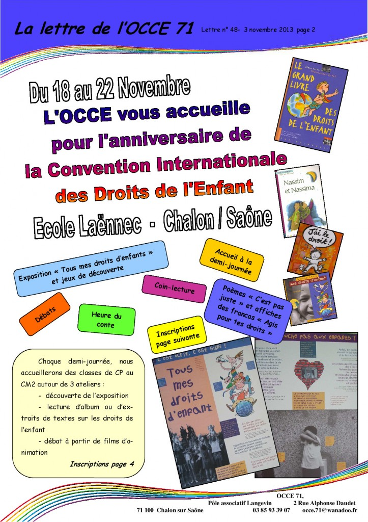 Lettre N°48 - 3 Novembre 2013 - Droits de l'enfant - 2