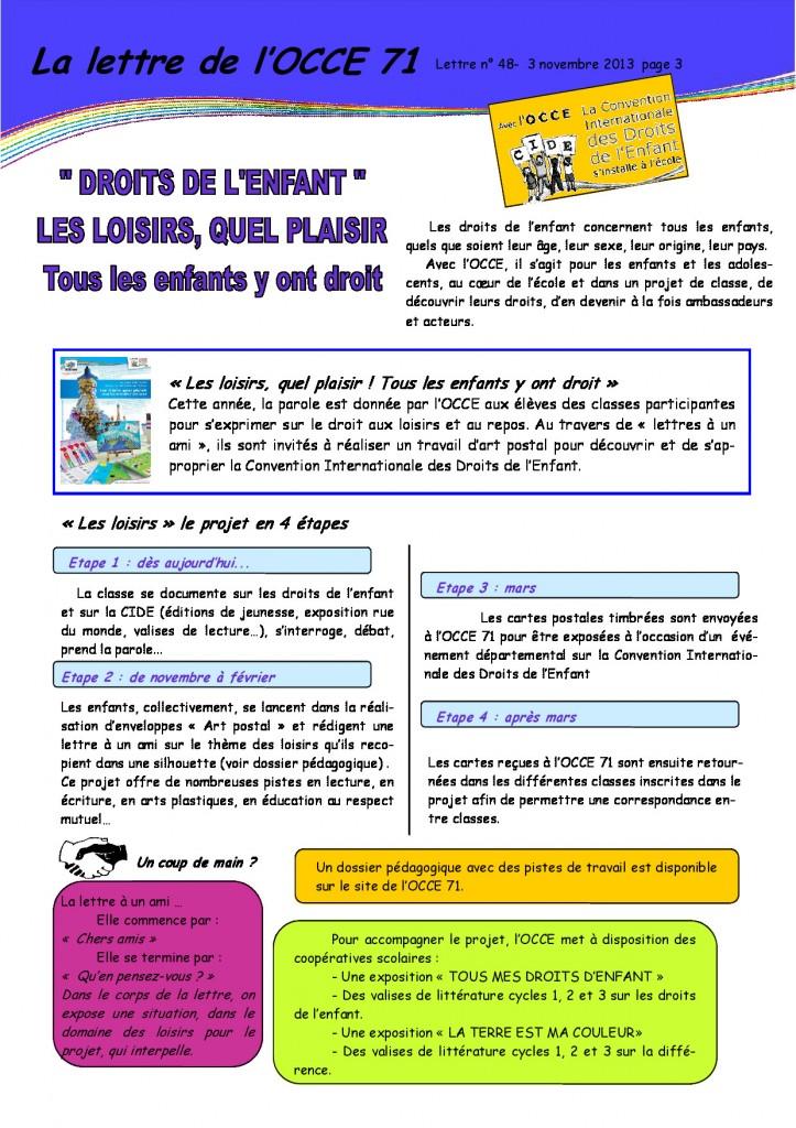 Lettre N°48 - 3 Novembre 2013 - Droits de l'enfant - 3