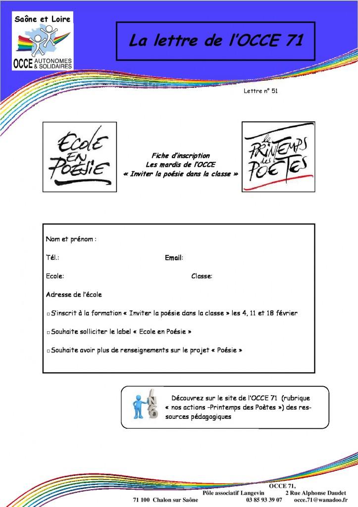 Lettre n°51 - 06 Janvier 2014 - Inviter la poésie dans la classe - page 2