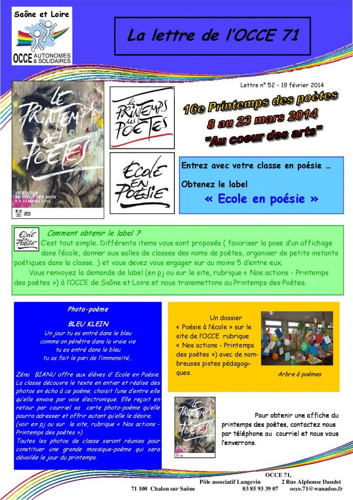 Lettre n°52 - 19 Février 2014 - Printemps des poètes