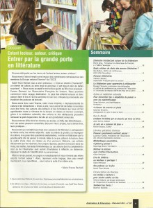 AE227 - Enfant lecteur, auteur, critique, Entrer par la grande porte en littérature - N°227 Mars-Avril 2012 - Sommaire