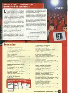 AE229 - Education au regard l'exemple du 7ème art, Quand l'école fait son cinéma - N°229-230 Juillet-Octobre 2012 - Sommaire