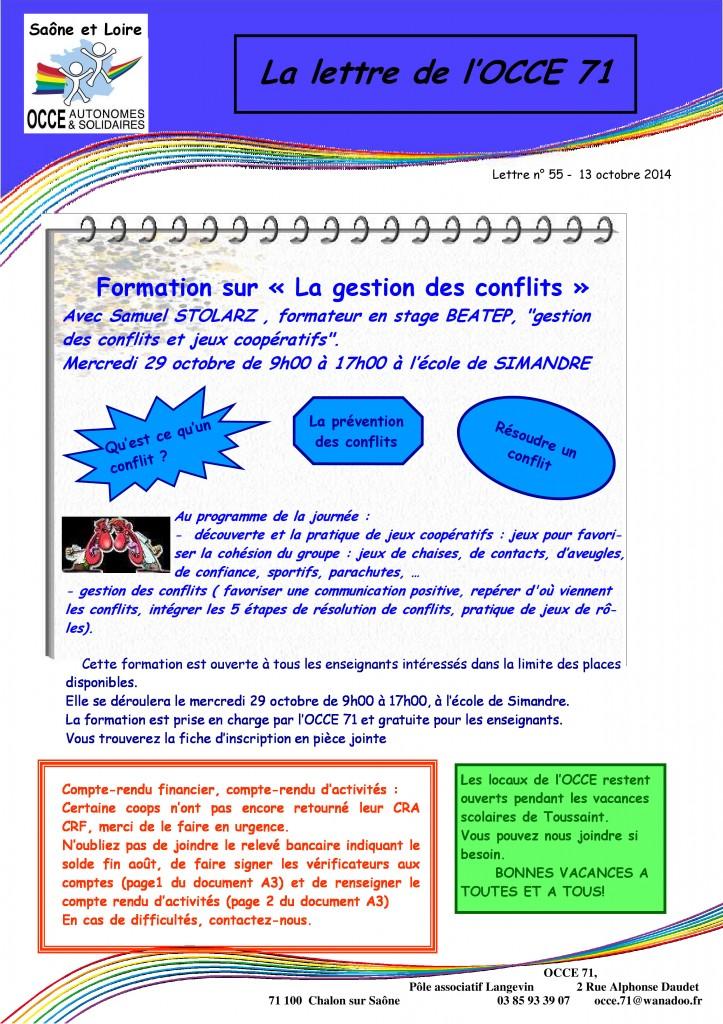 lettre n°55 - 13 Octobre 2014 - Formation gestion des conflits
