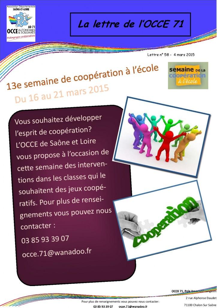 lettre n°58 - 4 Mars 2015 - Semaine de la coopération à l'école