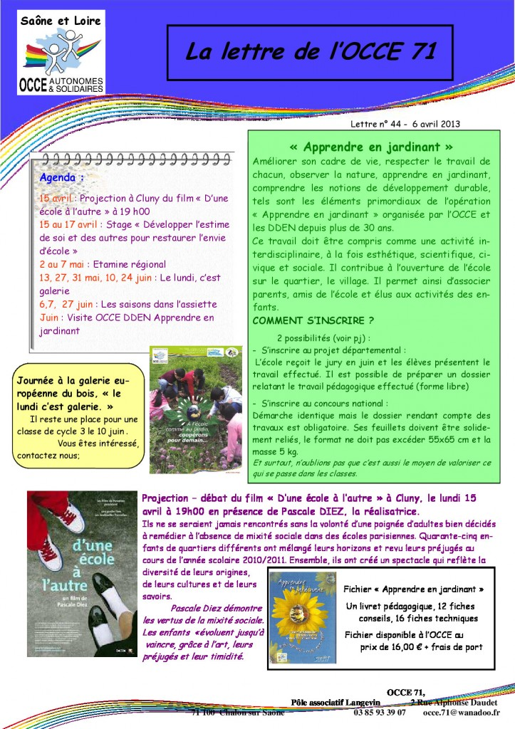 OCCE71 lettre n°44 - 6 Avril 2013 - Apprendre en jardinant - p1